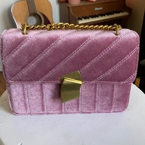 Velvet pink purse with gold chain and gold clasp